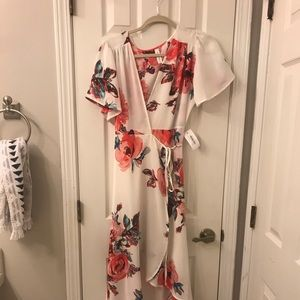 White and pink floral wrap dress